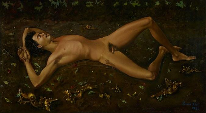 Leonor Fini, Male Nude/Portrait of Nico Papatakis, 1942