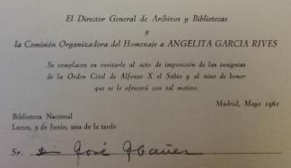 Invitacion al homenaje 1961 Angela